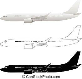 jato passageiro, airliner, comercial, vetorial, ilustrações