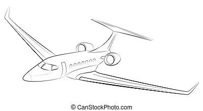 jato passageiro, negócio, prestigious, aircraft., modernos, privado, avião., caro