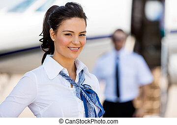 jato, privado, fundo, stewardesses, sorrindo, piloto