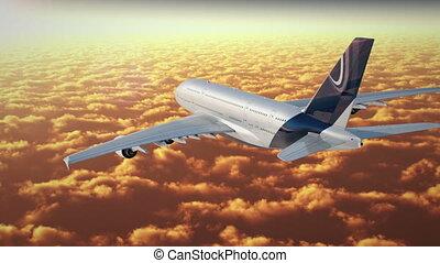 jato, voar, cloudscape, em, sunse