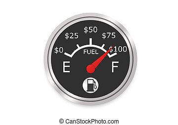jauge, argent, carburant
