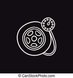 jauge, pneu, icon., pression, croquis