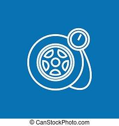 jauge, pneu, icon., pression, ligne
