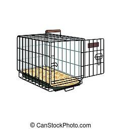 jaula, alambre, transporte, cajón, metal, perro, mascota, ...