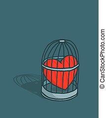 jaula, corazón, amor, o, atrapado