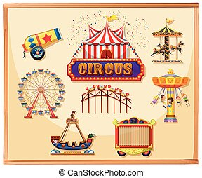 jaula, elementos, cartel, circo, canon, incluso, juegos,...