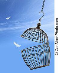 jaula, libertad, concept., escapar