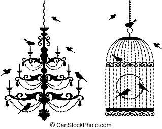 jaula, y, araña de luces, con, aves