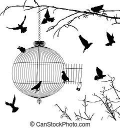 jaula, y, aves, siluetas