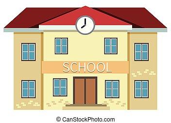 jaune, école, bâtiment