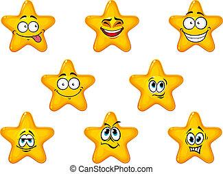 jaune, étoiles, émotions, heureux