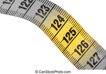 jaune, 125, gros plan, isolé, blanc, -, mètre ruban