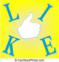 jaune, aimer, fond, main