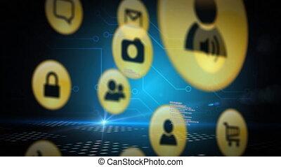 jaune, animation, bleu, réseaux, fond