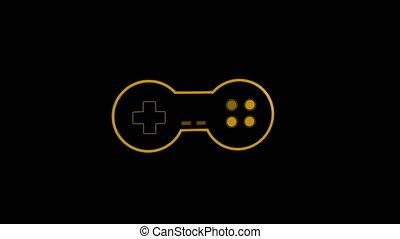 jaune, animation, jeu, logo, vidéo