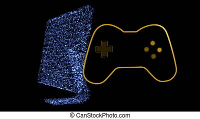 jaune, animation, jeu, logo, vidéo, informatique