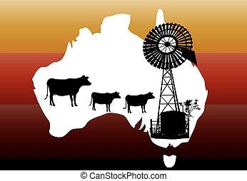 jaune, australie, ligne, blanc, silhouette, vaches, carte, éolienne, arrière-plan orange, dehors