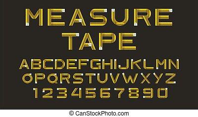 jaune, bande, alphabet, mesure, vecteur