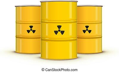 jaune, barils métal