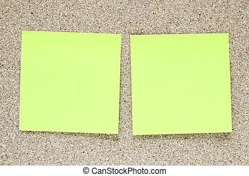 jaune, bouchon, noter papier, planche, vide