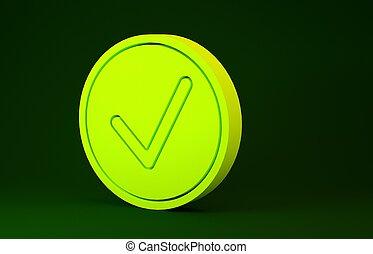 jaune, bouton, isolé, minimalisme, arrière-plan., choix, vert, icône, 3d, symbole., marque contrôle, signe., render, cercle, concept., illustration, checkmark