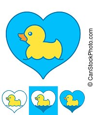 jaune, canards, caoutchouc, vecteur, cœurs, natation
