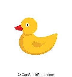 jaune, caoutchouc, duck., mignon, dessin animé, bain, mignon