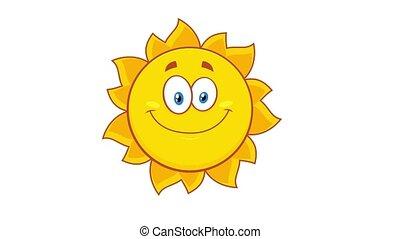 jaune, caractère, cligner, soleil, dessin animé
