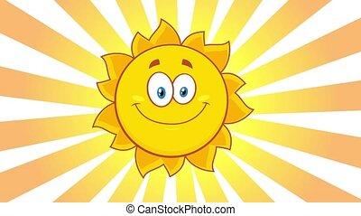 jaune, caractère, heureux, cligner, soleil, dessin animé