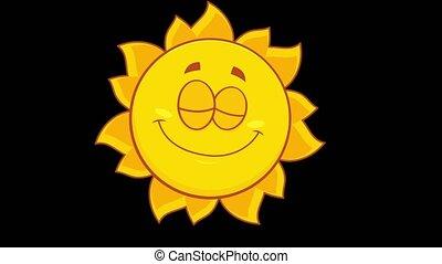 jaune, caractère, soleil souriant, dessin animé