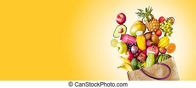 jaune, coloré, fruit, exotique, panorama, bannière