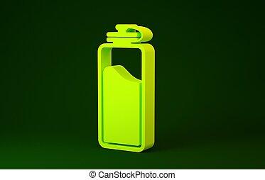 jaune, concept., illustration, eau, 3d, render, sport, vert, icône, isolé, bouteille, arrière-plan., minimalisme