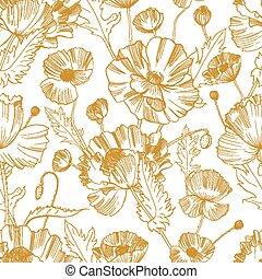 jaune, contour, modèle, seamless, textile, arrière-plan., magnifique, dessiné, blanc, emballage, illustration, main, fleurs, botanique, impression, papier peint, naturel, paper., lignes, vecteur, fleurir, sauvage, pavot