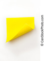 jaune, courbé, grand plan, note, adhésif