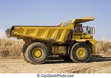 jaune, creuser camion