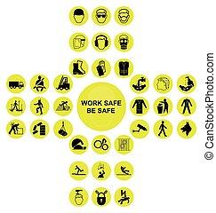 jaune, cruciforme, santé sécurité, icône, collection