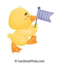jaune, duckling., arrière-plan., vecteur, illustration, blanc, dessin animé