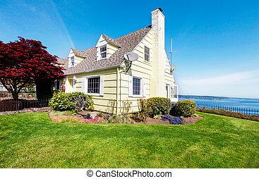 jaune, eau, maison, petit, maple., rouges, vue