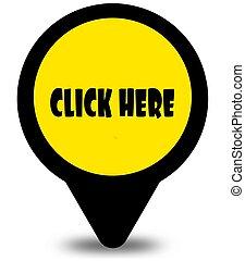 jaune, emplacement, indicateur, conception, à, cliquez ici, message texte