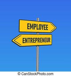 jaune, 'employee/entrepreneur', texte, signes, illustration, poteau, vecteur, route