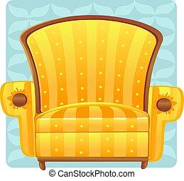 jaune, fauteuil