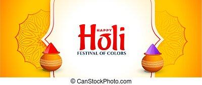 jaune, festival, heureux, célébration, bannière, holi