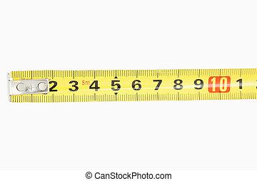 jaune, fin, mètre ruban, haut