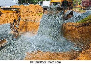 jaune, fondation, travail, machinerie, déchargement, roue, gravier, matériel construction