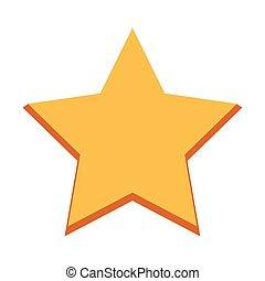 jaune, forme, icône, conception, étoile, plat