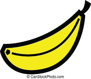 jaune, fruit, art, banane, agrafe
