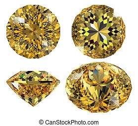 jaune, gemme, isolé