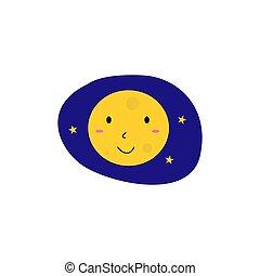 jaune, gosses, sourire, lune bleue