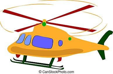 jaune, hélicoptère, illustration, blanc, vecteur, arrière-plan.