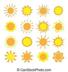 jaune, icônes toile, collection., conception, soleil, symbole, dessin animé, app., été, mobile, isolé, white., site web, pictogramme, bouton, ensemble
